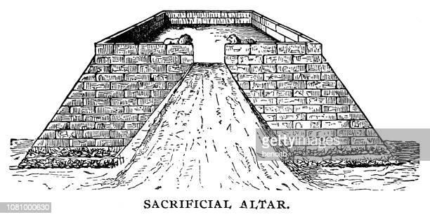 ilustrações de stock, clip art, desenhos animados e ícones de sacrificial altar - astecas