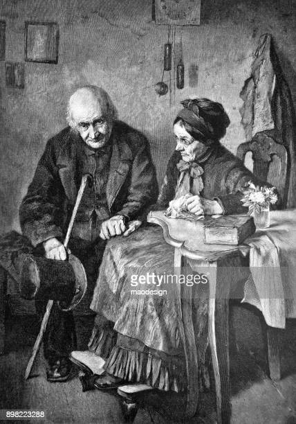 sad elderly couple sitting at the table - 1896 - 1896 stock illustrations, clip art, cartoons, & icons