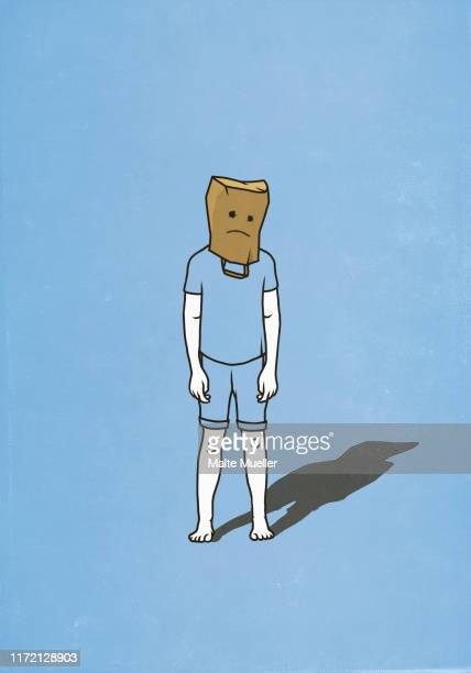 sad man with paper bag over head - front view stock illustrations