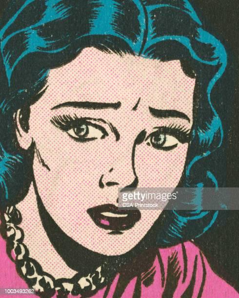 sad woman - anxiety stock illustrations