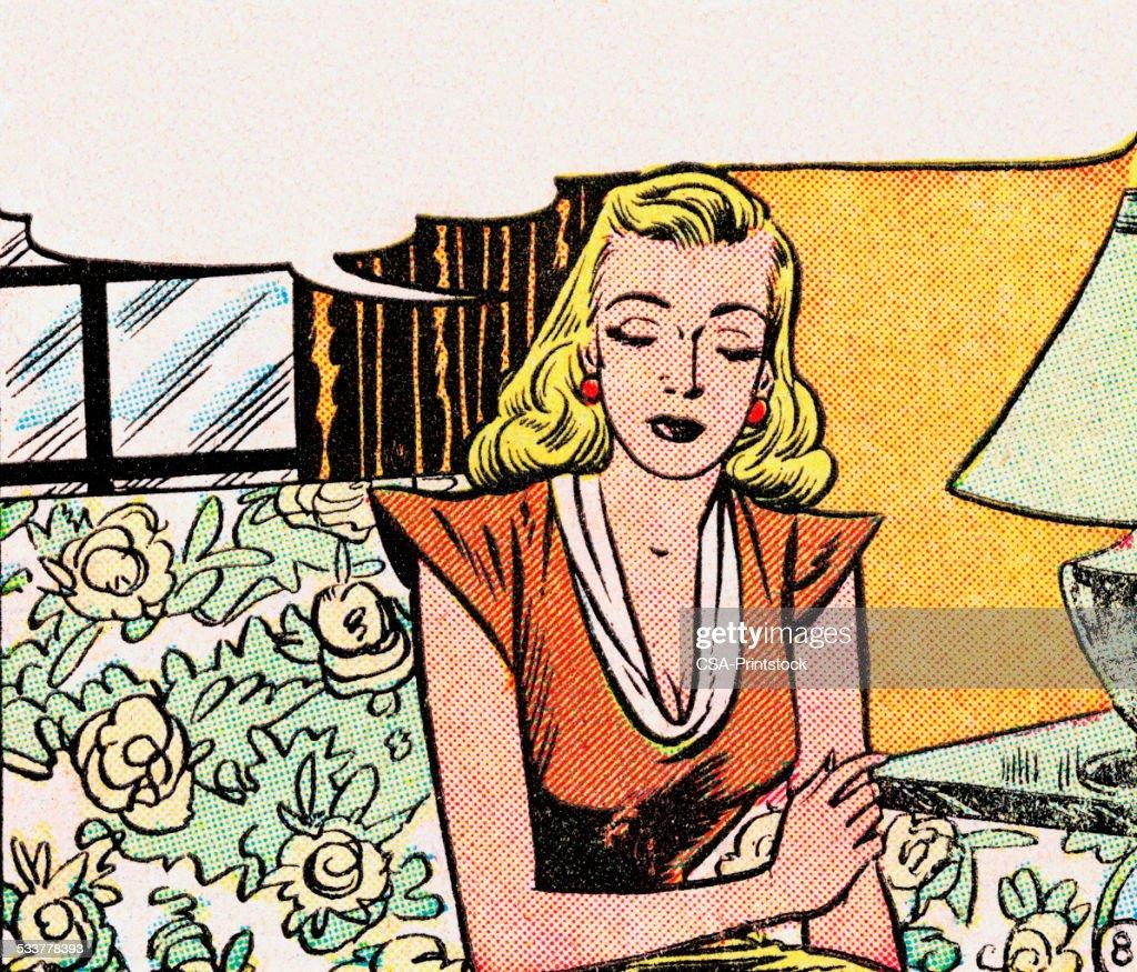 Triste donna con bolla di pensiero : Illustrazione stock