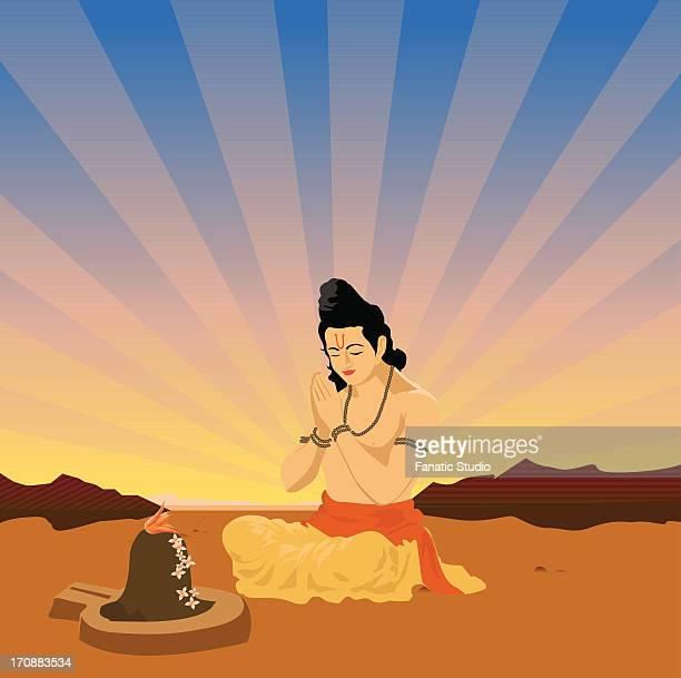 sadhu praying in front of shivling - shiva lingam stock illustrations