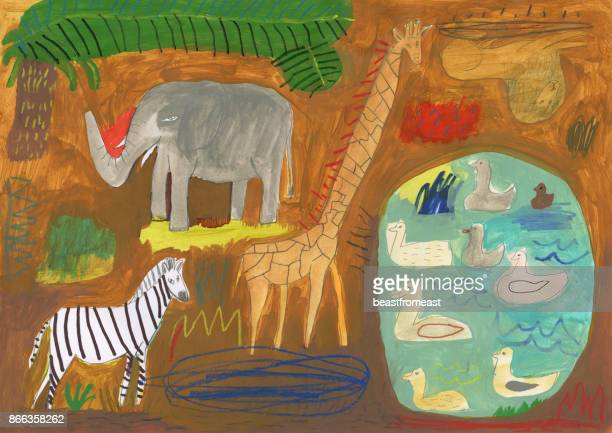 safari animals and birds - safari stock illustrations, clip art, cartoons, & icons