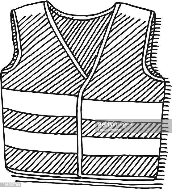 safety vest drawing - waistcoat stock illustrations, clip art, cartoons, & icons