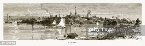 sag harbor, long island, new york, united states, american victorian engraving, 1872 - sag harbor stock illustrations