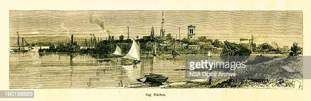 sag harbor, new york - village stock illustrations