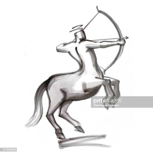 sagittarius astrological sign, illustration - human representation stock illustrations