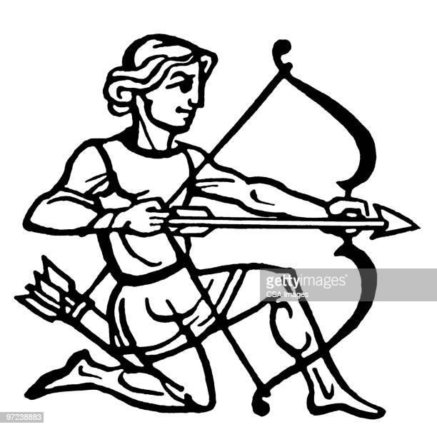 sagittarius - arrow bow and arrow stock illustrations