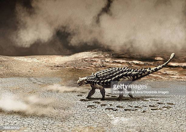 a saichania chulsanensis dinosaur is caught in a sandstorm. - scute stock illustrations, clip art, cartoons, & icons