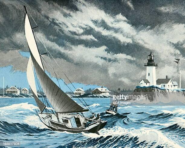 illustrations, cliparts, dessins animés et icônes de bateau à voile sur la mer dans une tempête - tempête