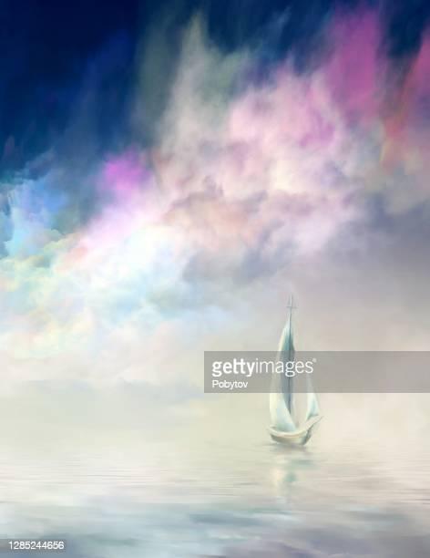 ilustraciones, imágenes clip art, dibujos animados e iconos de stock de velero en el mar en calma - vista marina