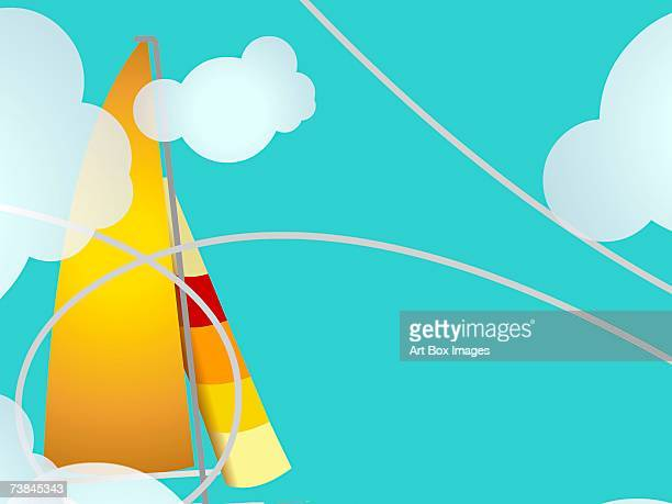 sailboat in the sky - number of people stock illustrations, clip art, cartoons, & icons