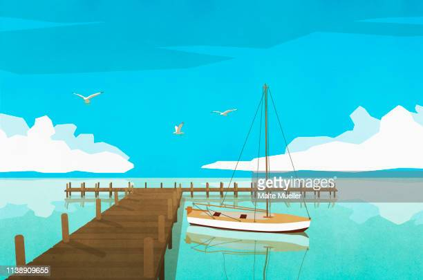 sailboat moored at tranquil ocean dock - silence stock illustrations