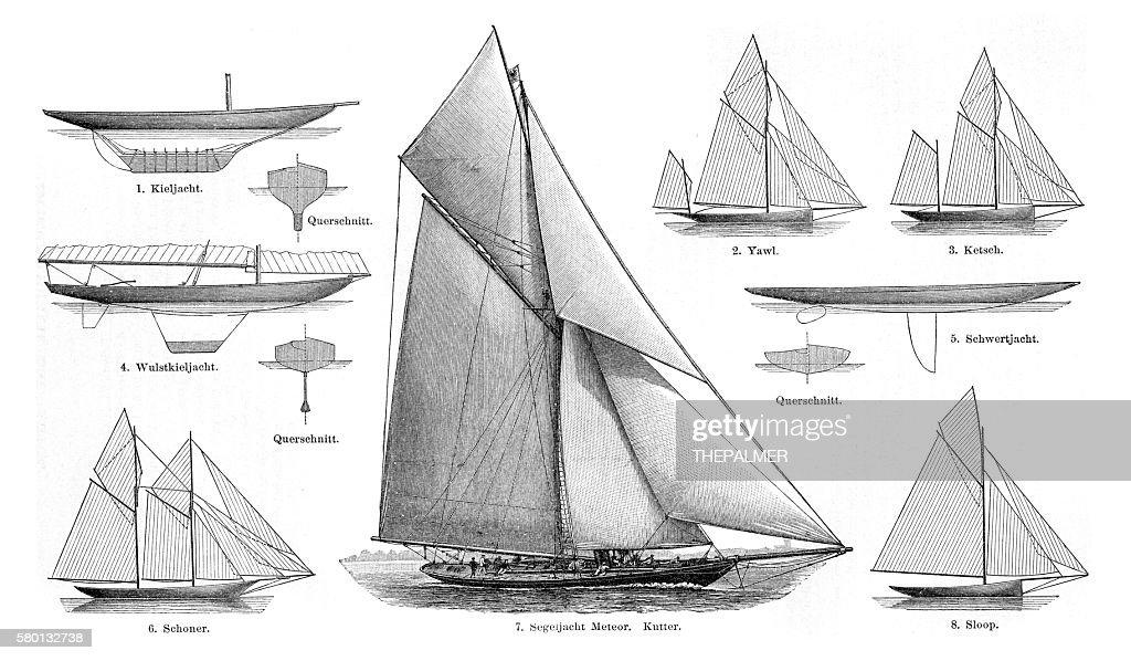 sailboats engraving 1895 : stock illustration