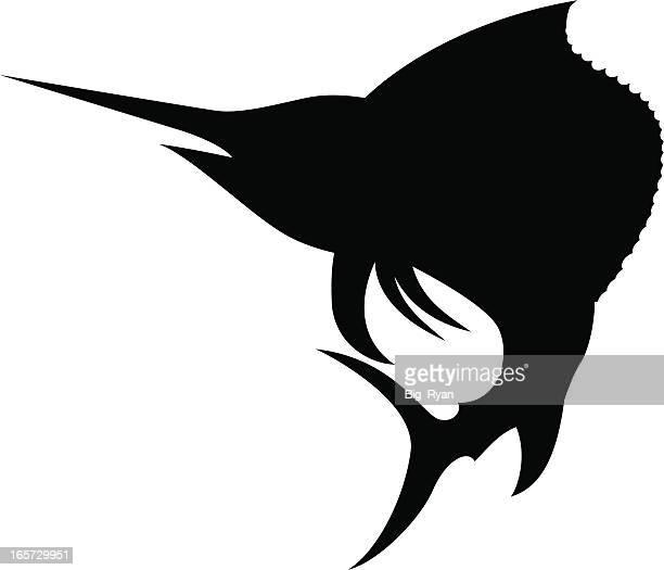 sailfish silhouette - sailfish stock illustrations