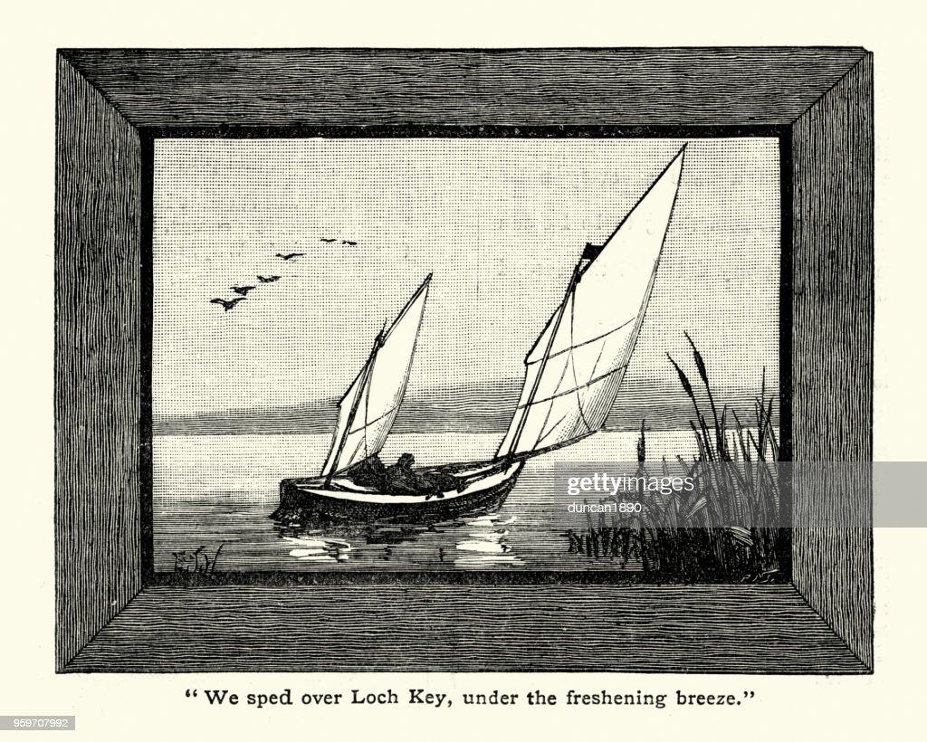 Ein Segelboot auf Lough Key, 19. Jahrhundert : Stock-Illustration