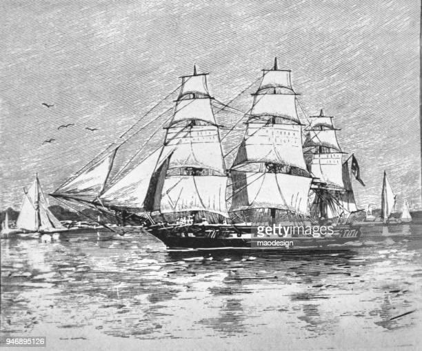 Sailing boat sailing to the sea _ 1895