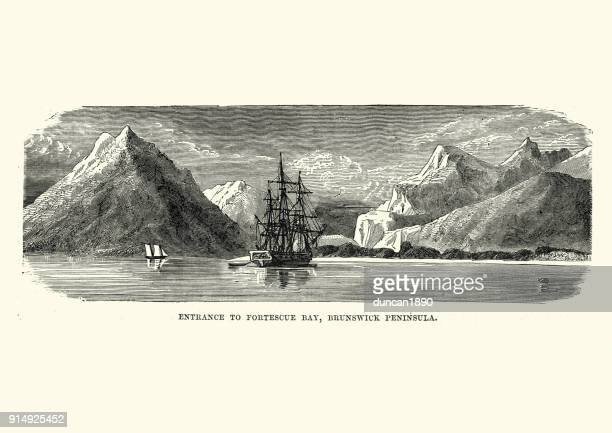 Sailing ship at Fortescue Bay, Brunswick Peninsula, 19th Century