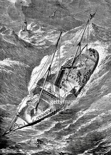 Zeilschip van bovenaf in stormachtige, zware zee