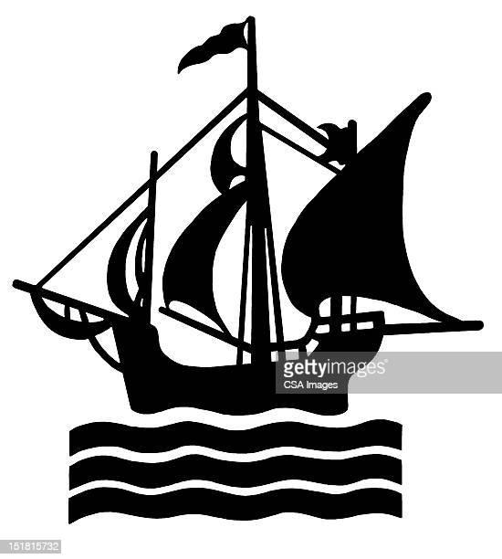 sailing ship - 海賊旗点のイラスト素材/クリップアート素材/マンガ素材/アイコン素材