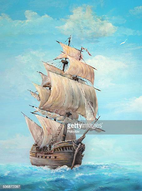 sailing ship on a clear day, oil painting - pirate boat stock illustrations, clip art, cartoons, & icons