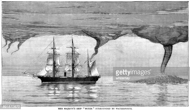 竜巻に囲まれた帆船