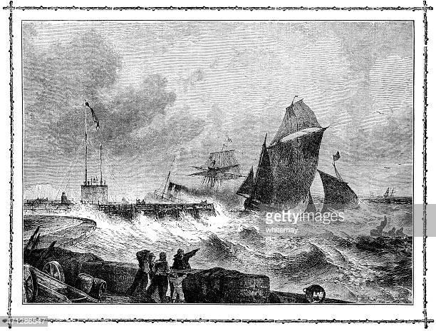 Sailing ships entering Dover Harbour (Victorian illustration)