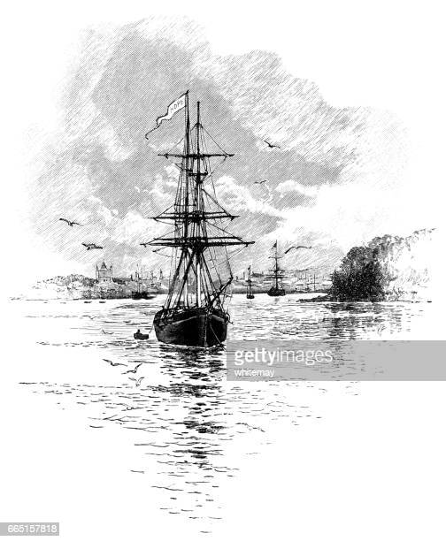 Sailing ships in a river estuary (Victorian engraving)