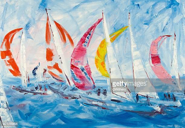 sailing yachts racing - sail stock illustrations, clip art, cartoons, & icons