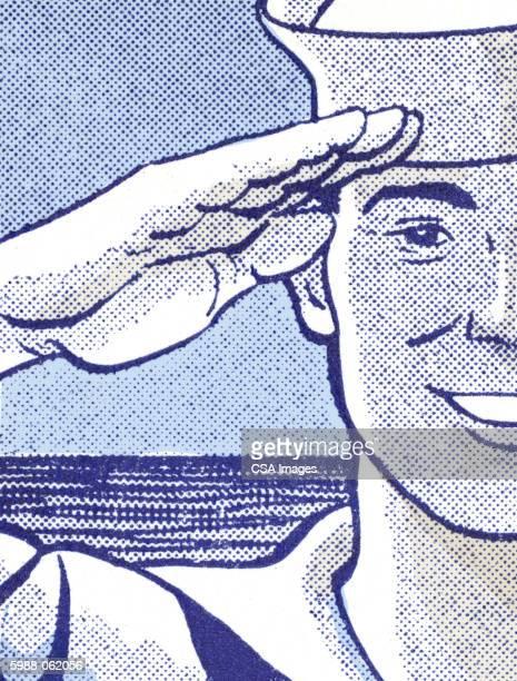 sailor saluting - heroes stock illustrations