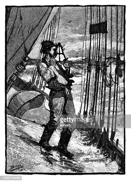 Sailor using a sextant