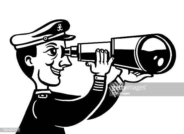 sailor using telescope - boat captain stock illustrations, clip art, cartoons, & icons