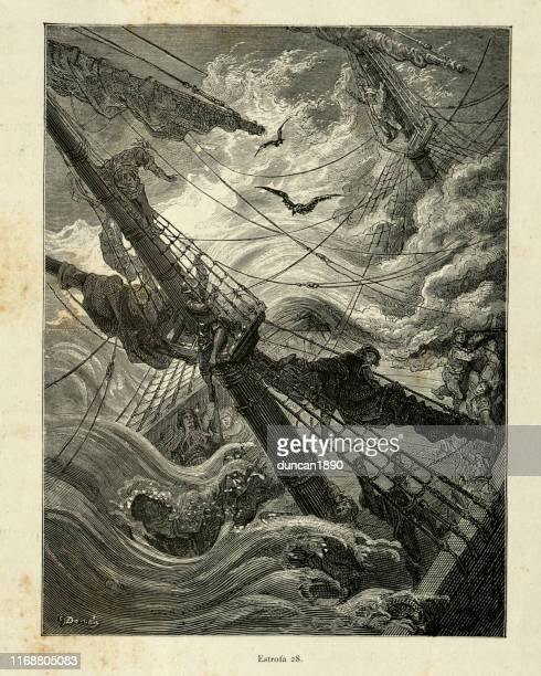 sailors clinging to the mast of a sinking ship, victorian - ship wreck stock illustrations