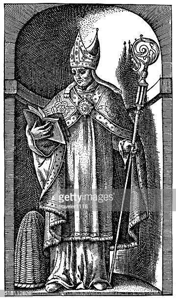 ilustrações, clipart, desenhos animados e ícones de santo ambrose-bishop de milão no século 4 - bishop clergy