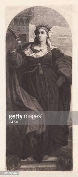 saint barbara, painted (1510) by palma vecchio, venice, published 1884 - high renaissance stock illustrations