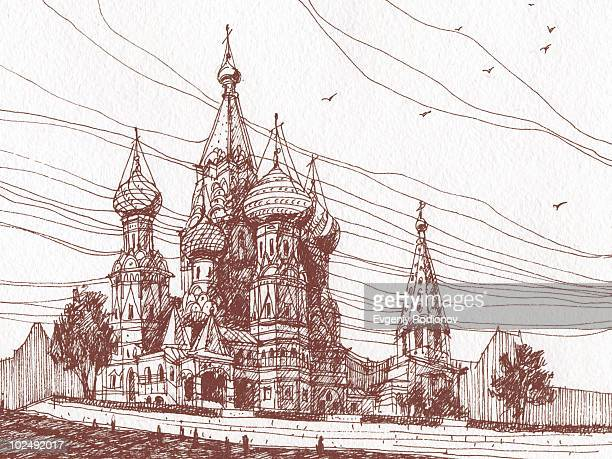 saint basils cathedral - red square stock illustrations, clip art, cartoons, & icons