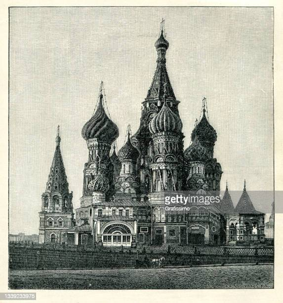basilius-kathedrale in moskau russland 1898 - russland stock-grafiken, -clipart, -cartoons und -symbole