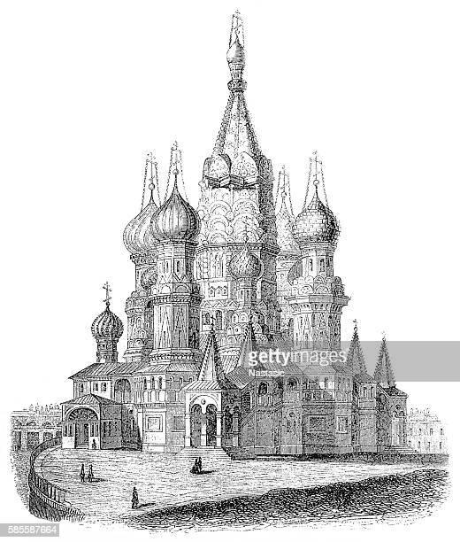 ilustrações, clipart, desenhos animados e ícones de saint basil's cathedral, in moscow, russia - cultura russa