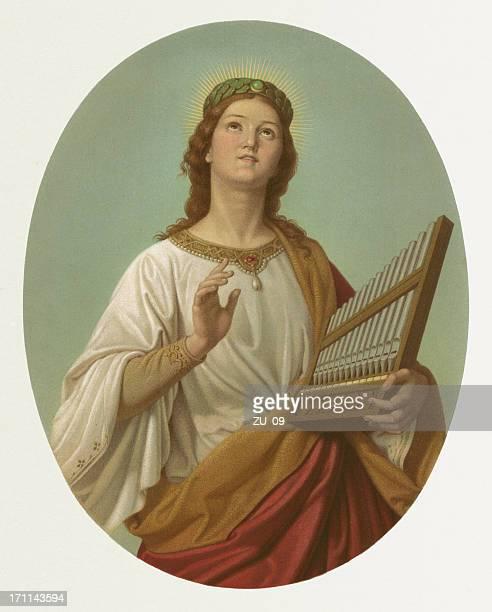ilustrações de stock, clip art, desenhos animados e ícones de staint cecilia-por joseph molitor (1821-1891 - santos