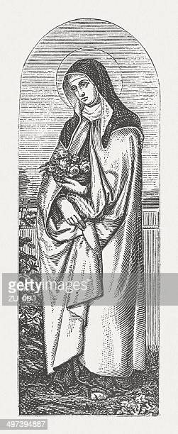 Saint Elizabeth and the Rose Miracle, wood engraving, published 1881