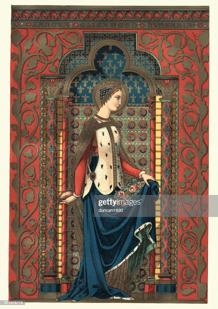 Saint Elizabeth of Hungary : stock illustration