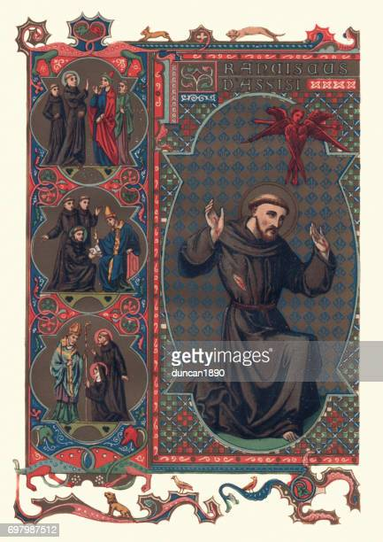 saint francis of assisi - religious icon stock illustrations