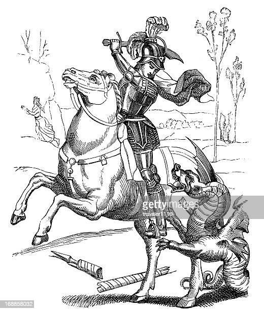 saint george - killing stock illustrations
