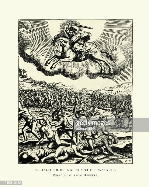 saint iago, fighting for spanish conquistador in new world - spanish culture stock illustrations