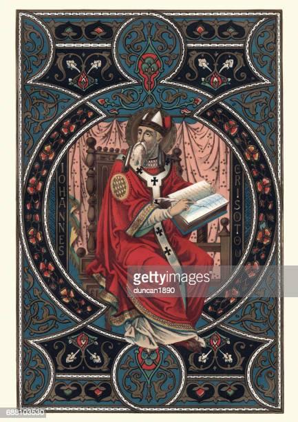 saint john chrysostom - bishop clergy stock illustrations, clip art, cartoons, & icons