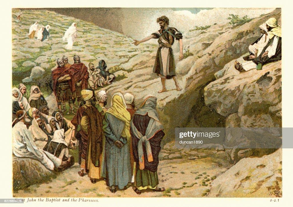 Saint John the Baptist and the Pharisees : stock illustration