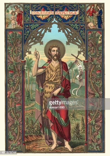 saint john the baptist - religious saint stock illustrations