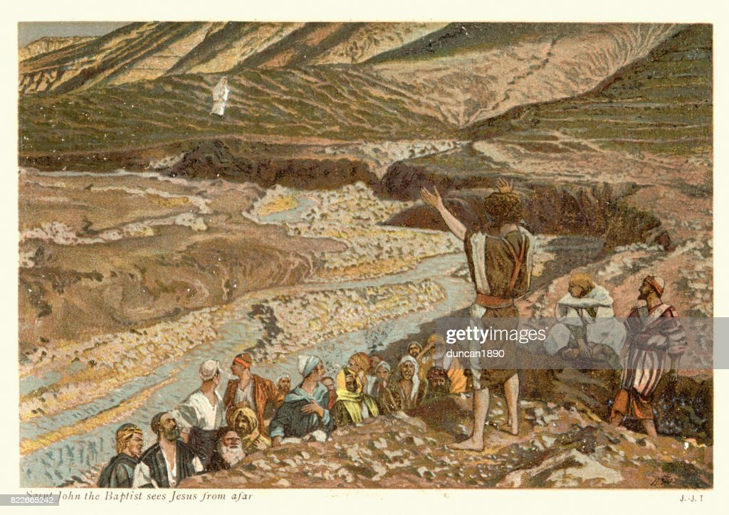 Saint John the Baptist sees Jesus from afar : stock illustration