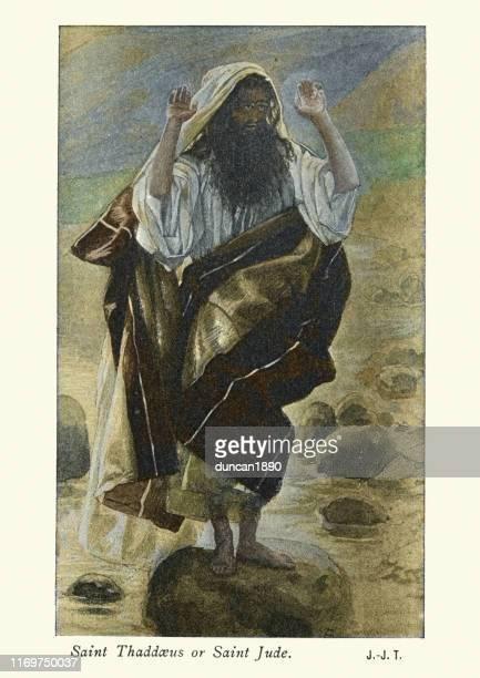 saint jude the apostle (judas thaddaeus) - worshipper stock illustrations
