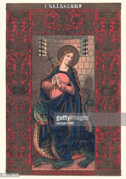 saint margaret the virgin - religious saint stock illustrations